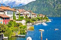 Como Lake scenic waterfront villas view, Ossuccio village on lake shores