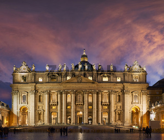 The Papal Basilica of Saint Peter in the Vatican or Saint Peter's Basilica at sunset. Rome Italy