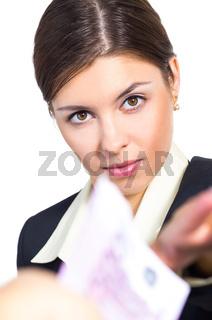 Business woman receives money