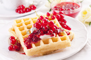 Waffle with fresh made red currant marmalade