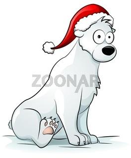 Eisbär mit Weihnachtsmütze