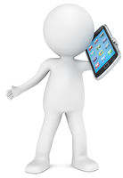 3D little human character holding a Smart Phone. App Icons. People series.