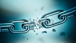 Breaking metal chain
