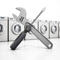 Washing machines, wrench and screwdriver. Household appliance repair concept. 3D illustration