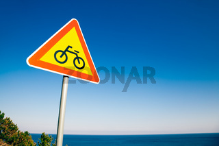 Bicycle signs and sea at Yeongdeok Sunrise Park in Yeongdeok, Korea
