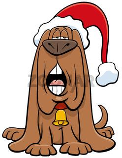 cartoon dog sing a carol on Christmas time