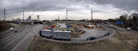 Panorama motorway junction A 43 with A 42 with power plant and construction site, Herne, Germany