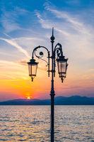Sunset over Lake Garda in Lazise, Italy