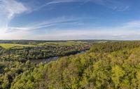 Blick über Güntersberge im Harz Selketal mit Bergsee