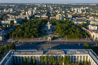 Aerial view of Government House and Cathedral Park in the center of Chisinau, capital of Moldova, at sunset Chisinau, Moldova
