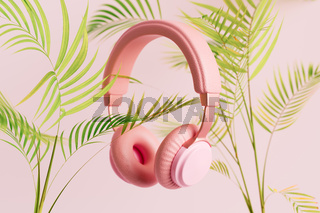 Pink headphones with plants 3D illustration