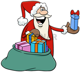 cartoon Santa Claus handing out gifts on Christmas time