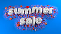Summer Sale bright white glossy letters on a blue abstract background. 3d illustration
