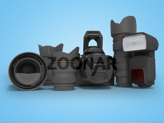 3d rendering equipment for the photographer on blue background with shadow
