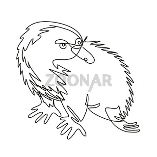 Echidna or Spiny Anteater Side View Continuous Line Drawing