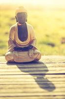 Buddha statue in India: Relaxation, balance and spirituality.