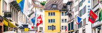 Shopping streets and historic Old Town buildings, shops and luxury stores near main downtown Bahnhofstrasse street, Swiss architecture and travel destination in Zurich, Switzerland