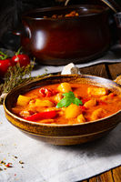 rustic Hungarian goulash soup with paprika