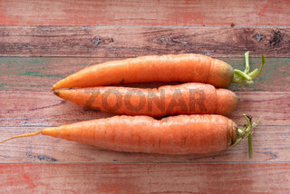 Three carrots on a coloured wooden background with copy space