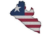 Karte und Fahne von Liberia auf Filz - Map and flag of Liberia on felt