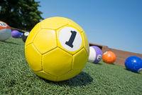 Colorful soccer balls at soccer billiards