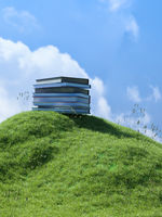 Pile of books on a small grassy hill