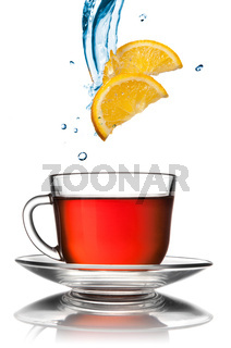 cup of tea with lemon slices isolated on white