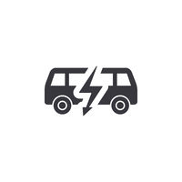 Electric bus, side view silhouette, simple black icon on white