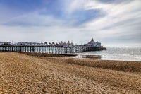 EASTBOURNE, EAST SUSSEX, UK - MAY 3 : View of Eastbourne Pier in East Sussex on May 3, 2021