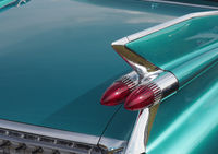 Taillight of an old vintage car on a sunny day
