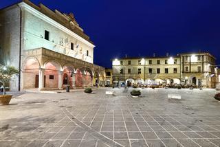 Montefalco Umbria Italy. Piazza del Comune at sunset