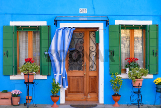 Burano island, famous for its colorful fishermen's houses, in Venice, Italy