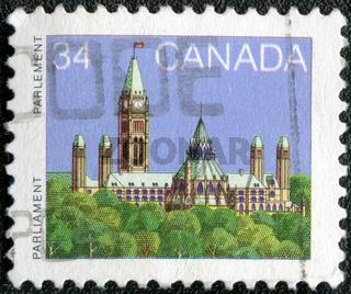 CANADA - CIRCA 1985: A stamp printed in Canada shows a Parliament (Library) in Ottawa, Ontario, circa 1985