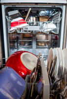Open dishwasher in a kitchen