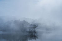 lushan traditional pavilion in mist