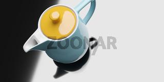 yellow turquoise ceramic coffee pot