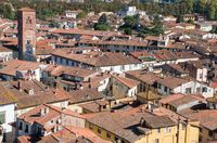 Cityscape with rooftops of Lucca town from Torre Ginigi tower. Tuscany central Italy