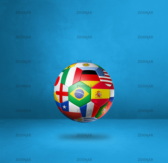 Football soccer ball with national flags on a blue studio background