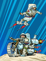 Astronauts on space transport. Flying and riding a motorcycle of the future