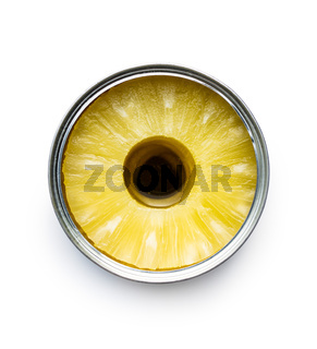Canned sliced pineapple fruit in can isolated on white background.