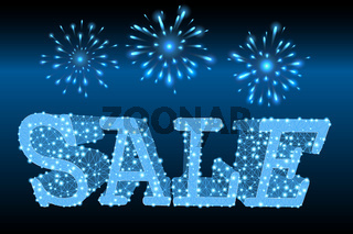 Sale text with lighting mesh and fireworks on dark background