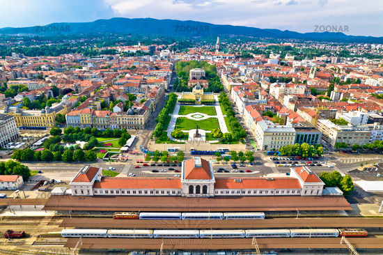 Zagreb central train station and Lenuci Horseshoe. Green zone of Zagreb historic city center aerial view