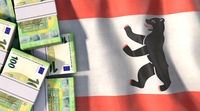 Euro notes on the Berlin flag