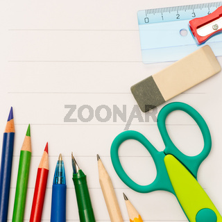 Back to school notepad with supplies