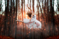 Flying attraction of a young beautiful ballerina. Attractive model in ballerine dress jumping up in the forest. Dark blurry background with sunset