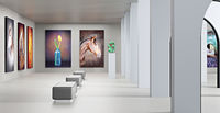 3D illustration with an art gallery