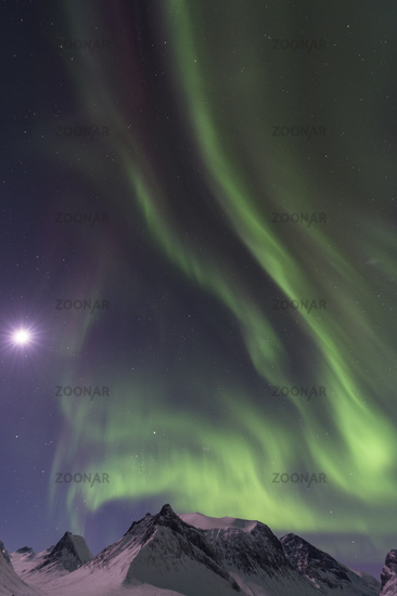 Northern lights with moon, Lapland, Sweden