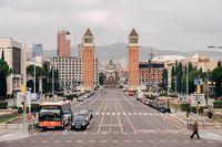 Barcelona, Spain - 15 December 2019: Plaza de Espana in Barcelona, the square of the capital of Catalonia.