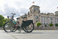 Bicycle of the public bicycle rental system of the city of Berlin Nextbike in Berlin