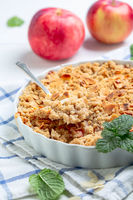Apple crumble is traditional summer dessert.